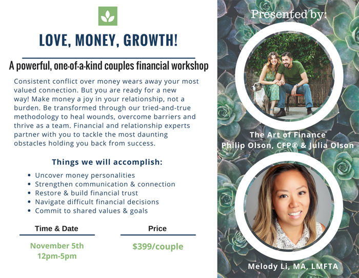 Love, Money, Growth! A One-of-a-Kind Couples Financial Workshop in Austin | Melody Li LMFTA and The Art of Finance